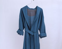 Personalized bathrobe. Dressing gown for Men. Natural bathrobe. Linen clothes for man. Homewear for man. Present for man. House coat.