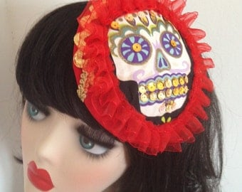 Pillbox Hat Fascinator Sugar Skull Bibi Crâne Halloween