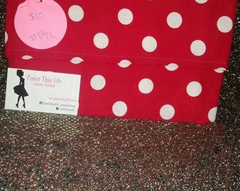 Foldover Clutch Red Polka Dots