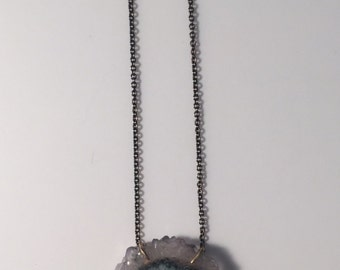 Oxidized Sterling & 14k Solid Yellow Gold Quartz Stalactite Slice Necklace