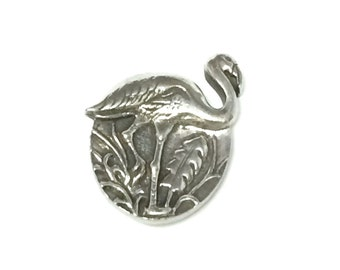 Danforth Flamingo Silver Pewter Shank Button 1 inch ( 25 mm )