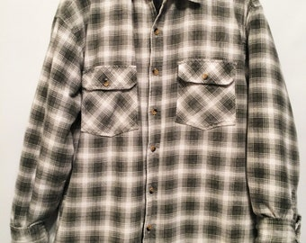 White Green Checked Lumberjack Quilted Jacket