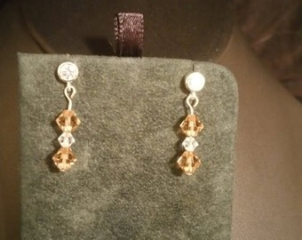 Sterling Silver Posts with Swarvoski Crystals. Gold/clear Bicone Swarovoski Crystals
