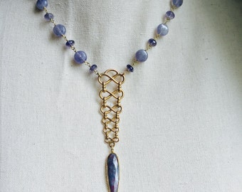 Converted Antique Vest Fob Necklace with Iolite, Tanzanite and Ruby in Kyanite