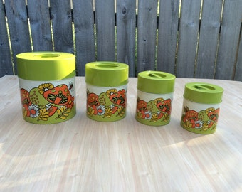 Vintage 1960s Canister Set, Vintage Metal Canisters, Nesting Tin Kitchen Canister Set, Butterflies, Mod Flower, Kitchen Storage