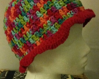 Colorful ruffle hat