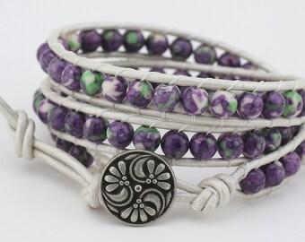 Wrap, Leather wrap bracelet, Triple Wrap, Rain flower, Bracelet, wrap bracelet, leather bracelet, beaded bracelet, bracelet, women's