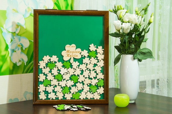 Wedding GuestBook Brown frame St. Patrick\'s day Painted