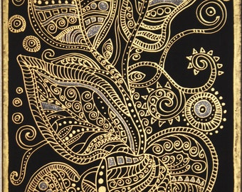 36 in- 24 in Gold Leaves,Original painting,Black canvas, Gold acrylic color, Hand painted, Ready to ship, Acrylic painting on canvas