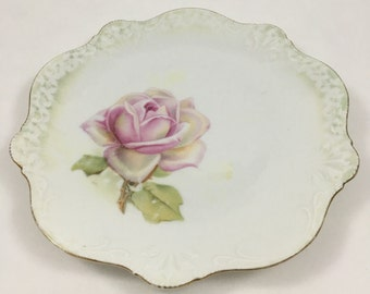 Antique RS Germany Porcelain Plate with Pink Rose - Reinhold Schlegelmilch China