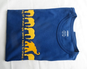 Childrens t-shirt elephants + Why fit in when you were born to stand out