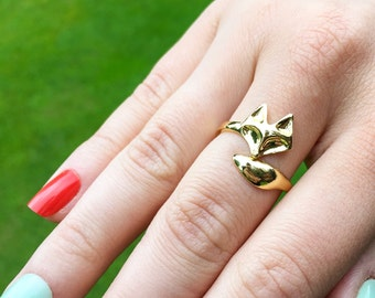 18k Gold Plated Plated Adjustable Fox Ring, Foxy, Pet Lovers, Foxes Ring