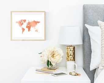 "World Map Wall Art - Yellow Gold or Rose Gold - World Map - 8 x 10"" Print"