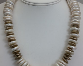 Handmade Coin Shaped Freshwater Pearl & Sterling Silver Bead Necklace - Handcrafted Beaded Jewelry -