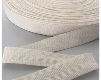20MM Natural / Cream HERRINGBONE COTTON TAPE 0.7mm Thick. Twill Tape, Webbing, Straps, Belts, Decoration, Bunting, Sewing, Dress Material.