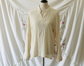 Cream embroidered tunic | Crinkle gauze embroidered blouse | Lightweight summer boho tunic | Size m / l