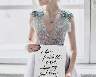 "Wedding Quote, ""I have found the one whom my soul loves."" Song of Solomon, Instant Download! **Printable Item**"