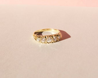 Gold antique ring - antique engagement ring - antique jewelry - gold ring - gold cz ring - art deco - edwardian ring - gold ring - ring -215