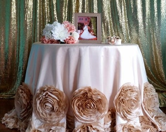 Rosette Tablecloth, Rose Tablecloth, Champagne Rosette Tablecloth