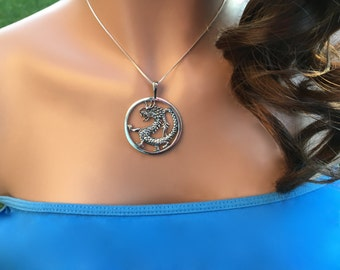Dragon Necklace, Sterling Silver Dragon, Dragon Jewelry, Dragon Charm Necklace, Chinese dragons, Christmas Gift, Stocking Stuffer