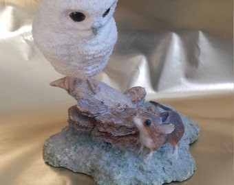 Vintage Border Fine Arts Resin Owl and Mouse Signed Ayres 1983 Figurine