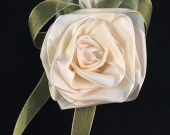 Cream and Green Ribbon Rose Corsage or Hair Accessory
