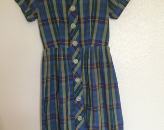1950's Bright Plaid Dress