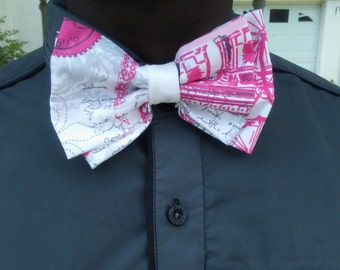 Pink and White graphic Bow tie