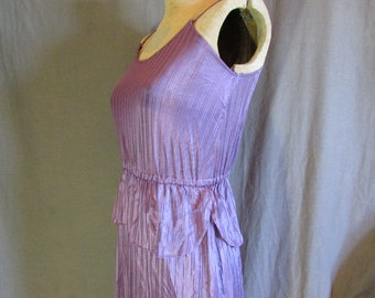 Purple Disco Dress 1970s Spaghetti Strap Peplum Size Extra Small 0-2