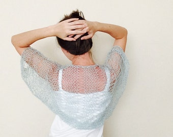 Mint Mohair Bolero Shrug / Loose Knit Shrug / Hand Knitted Bolero Shrug / Summer Shrug / Womens Clothing / Ready To Sh