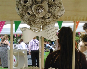 Personalised Paper Topiary Flower & Pot - Book Folding, Wedding Table Decoration, Flower Ball, Birthday, Gift