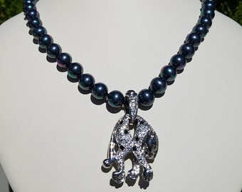 Charcoal Glass Bead Necklace 22 inch with Leopard Charm