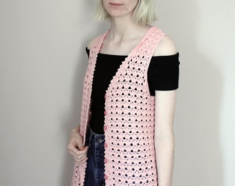SALE Vintage 60s Baby Pink Crochet Waistcoat/Vest - Extra Small/Small