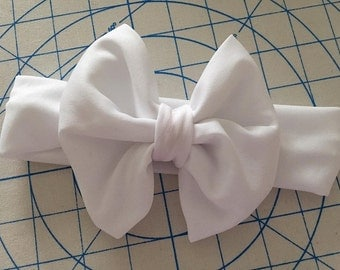 White Big Bow Headband, White Headband, Big Bow Headband, Newborn Headband, Baby Headband, Child Headband, Adult Headband
