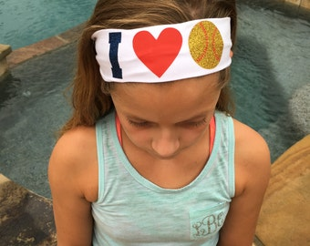 I LOVE Glitter Cotton Stretch Headbands - Baseball,Softball,Volleyball,Basketball,cotton headband,love softball, team headband