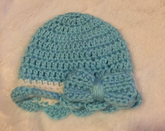 Blue Scalloped Hat with Bow
