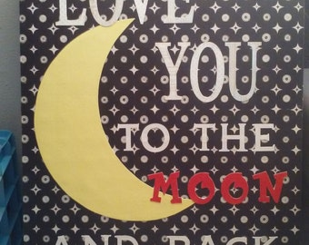 Love You To the Moon and Back Wooden Wall Decor