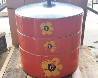 Vintage 1960s Stainless Steel Cake / Biscuit / Slice Tin / Retro Cake Tin / Orange Tin / B S C TIN
