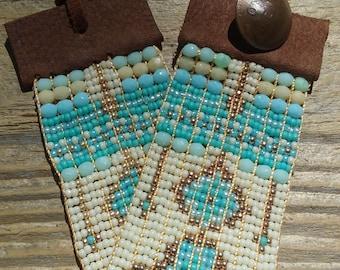 Bohemian bracelet , native american bracelet ,southwest chic,boho cuff,leather&beads,bead woven bracelet,ooak bracelet