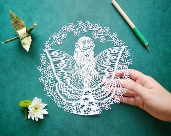 Original Papercut – Handcut – Papercutting – Paper Cutting Art – Paper Illustration – Paper Art – Gift for Her – Butterfly Girl - Unframed