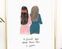 Best friends Printable artwork print / 8x10 / 5x7 / 4x6 / instant download / gift for friend / gift for sister