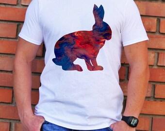 Rabbit Tee - Art T-shirt - Fashion T-shirt - White shirt - Printed shirt - Men's T-shirt - Gift