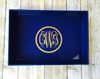 Jewelry Tray with Monogram  Personalized Tray Desk Organizer Monogram Catch All Tray