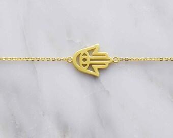 Gold Hamsa Hand bracelet, Hand of Fatima bracelet, silver bracelet, simple bracelet, bracelet, mom gift, girlfriend gift, best friend gift