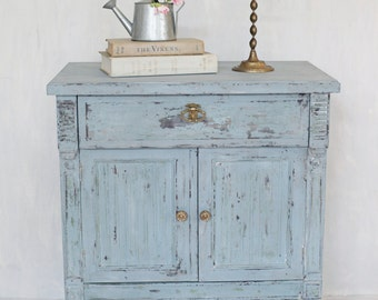 Antique French Country Shabby Chic Night Stand Side Table Restored