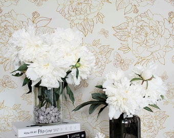 Yellow Peony Self Adhesive Wallpaper / Floral Removable or Regular Wallpaper / Flower Wall Mural / Floral Wallpaper