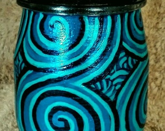 Blue Spirals Jar, Painted Stash/Treasure Jar, Painted 4 oz Glass Jar