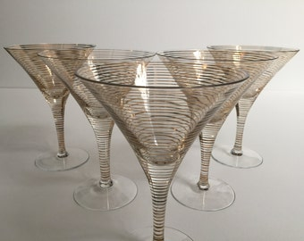 Gold Stripe Martini Glasses (5)