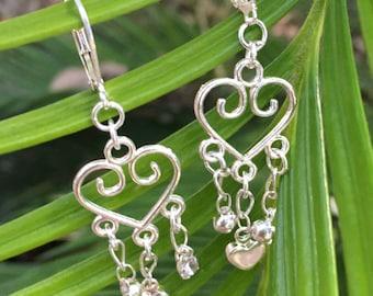 Silver heart earrings/ dangle earrings/ bridesmaid earrings
