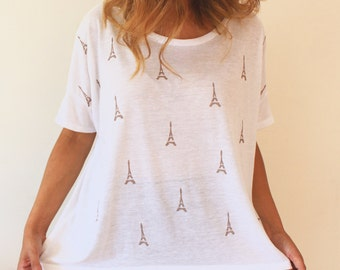 Tunic top loose shirt oversized top short sleeve top loose top eiffel tower print boxy top casual top white top boho top maternity top